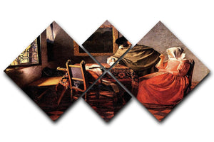 Glass of wine by Vermeer 4 Square Multi Panel Canvas - Canvas Art Rocks - 1