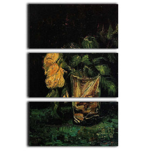 Glass with Roses by Van Gogh 3 Split Panel Canvas Print - Canvas Art Rocks - 1