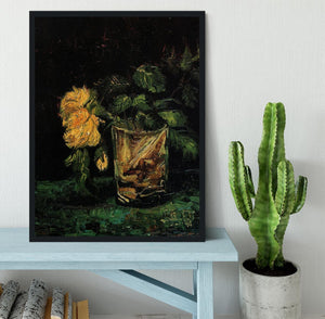 Glass with Roses by Van Gogh Framed Print - Canvas Art Rocks - 2