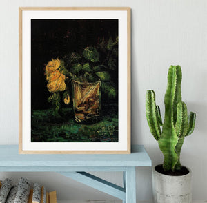 Glass with Roses by Van Gogh Framed Print - Canvas Art Rocks - 3