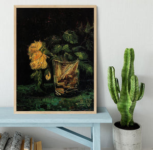 Glass with Roses by Van Gogh Framed Print - Canvas Art Rocks - 4