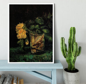 Glass with Roses by Van Gogh Framed Print - Canvas Art Rocks -6