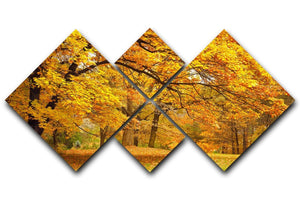 Gold Trees in a park 4 Square Multi Panel Canvas  - Canvas Art Rocks - 1