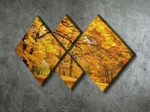Gold Trees in a park 4 Square Multi Panel Canvas  - Canvas Art Rocks - 2