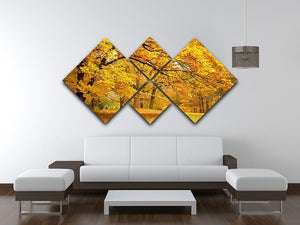 Gold Trees in a park 4 Square Multi Panel Canvas  - Canvas Art Rocks - 3