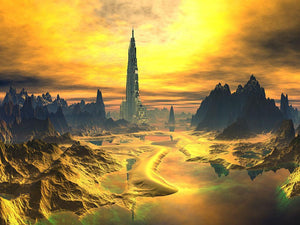Golden Alien Landscape Wall Mural Wallpaper - Canvas Art Rocks - 1