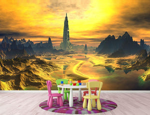 Golden Alien Landscape Wall Mural Wallpaper - Canvas Art Rocks - 2