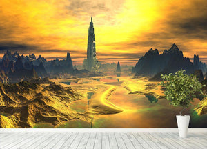 Golden Alien Landscape Wall Mural Wallpaper - Canvas Art Rocks - 4
