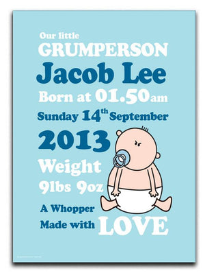 Goochicoo Personalised New Baby Boy Canvas Print - Canvas Art Rocks