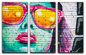 Graffiti Glasses 3 Split Panel Canvas Print - Canvas Art Rocks - 1