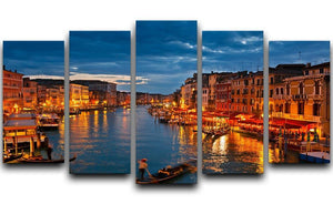 Grand Canal Venice at night 5 Split Panel Canvas  - Canvas Art Rocks - 1