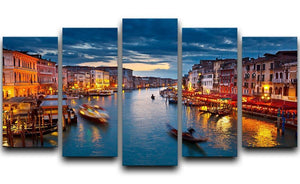 Grand Canal at night Venice 5 Split Panel Canvas  - Canvas Art Rocks - 1