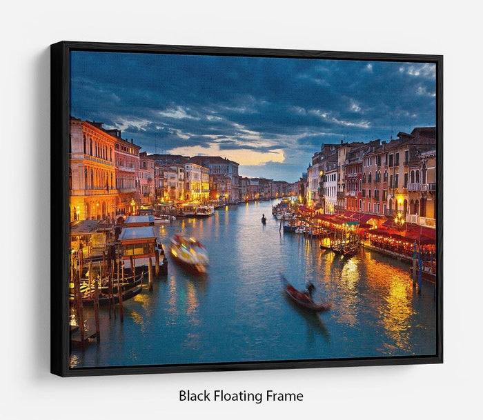 Grand Canal at night Venice Floating Frame Canvas
