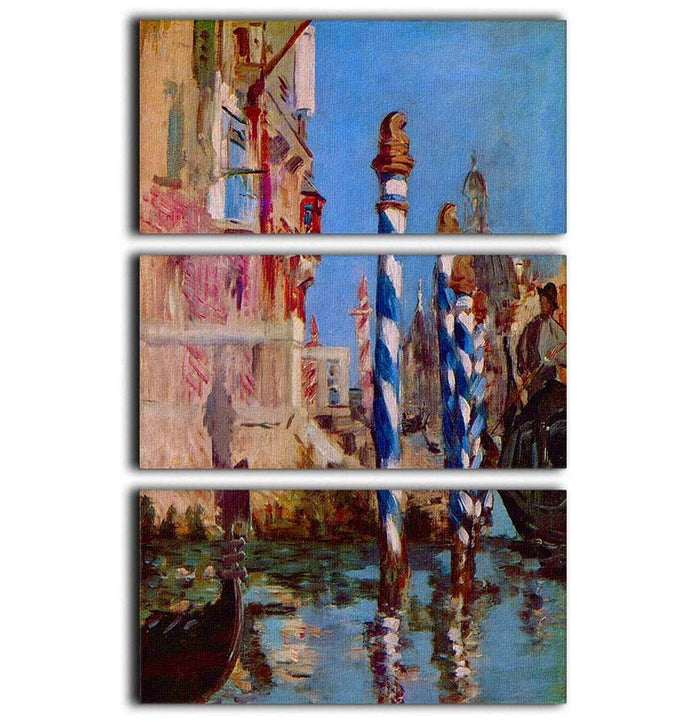 Grand Canal in Venice by Edouard Manet 3 Split Panel Canvas Print