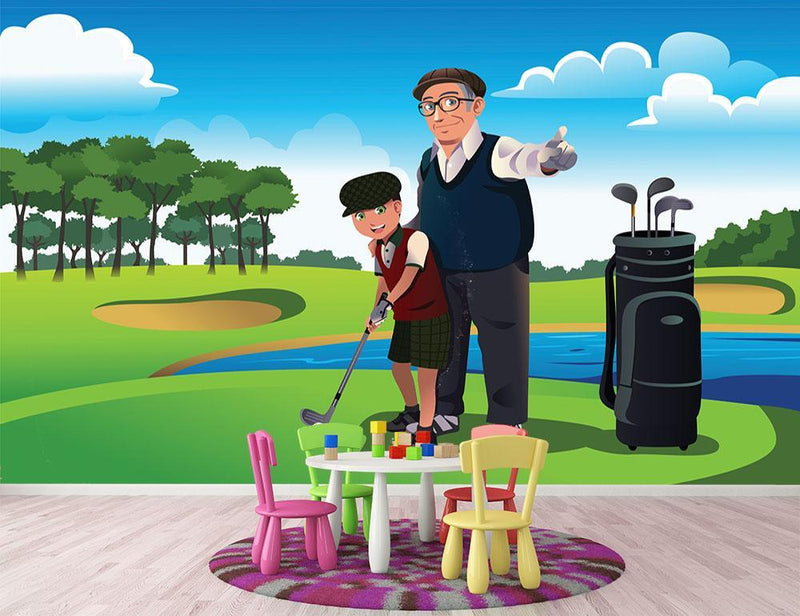 Grandfather teaching his grandson playing golf Wall Mural Wallpaper - Canvas Art Rocks - 1