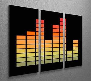 Graphic Equaliser 3 Split Panel Canvas Print - Canvas Art Rocks - 2