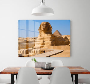 Great Sphinx with the pyramid of Menkaure HD Metal Print