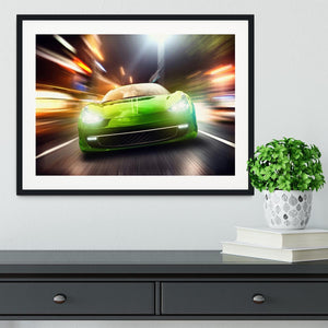 Green Race Car Framed Print - Canvas Art Rocks - 1