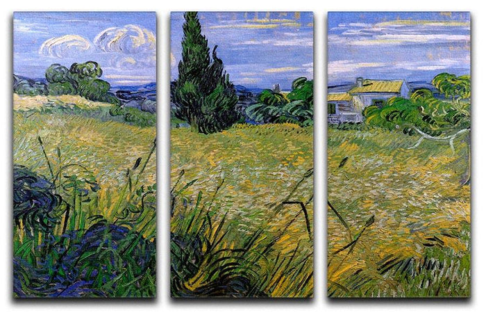 Green Wheat Field with Cypress by Van Gogh 3 Split Panel Canvas Print