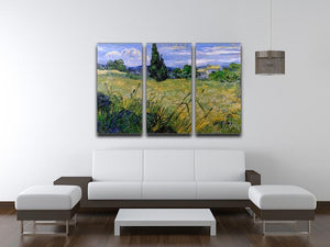 Green Wheat Field with Cypress by Van Gogh 3 Split Panel Canvas Print - Canvas Art Rocks - 4