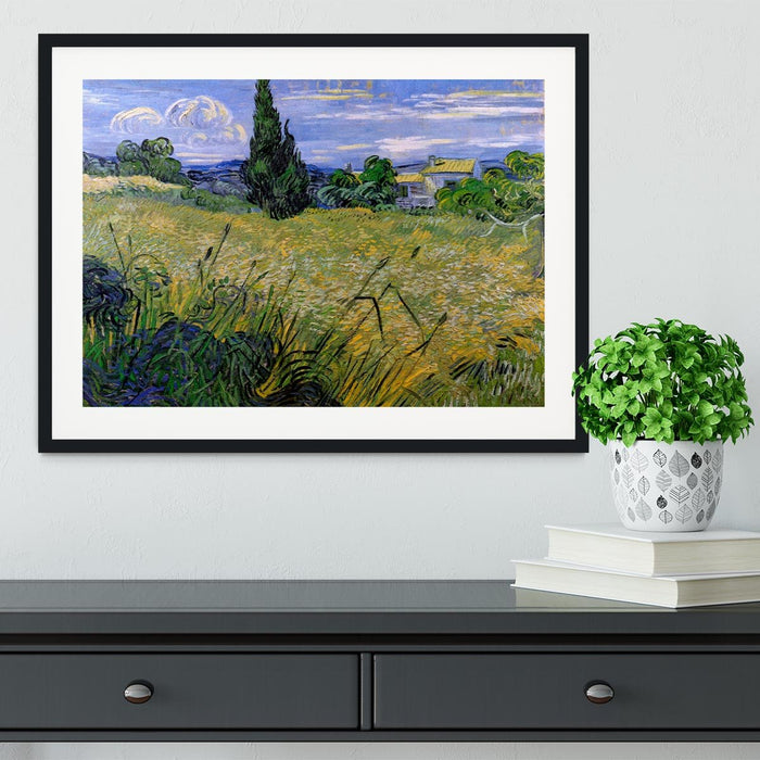 Green Wheat Field with Cypress by Van Gogh Framed Print