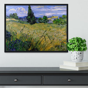 Green Wheat Field with Cypress by Van Gogh Framed Print - Canvas Art Rocks - 2