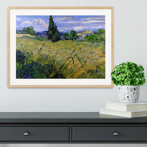 Green Wheat Field with Cypress by Van Gogh Framed Print - Canvas Art Rocks - 3