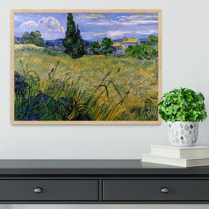 Green Wheat Field with Cypress by Van Gogh Framed Print - Canvas Art Rocks - 4