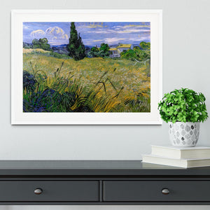 Green Wheat Field with Cypress by Van Gogh Framed Print - Canvas Art Rocks - 5