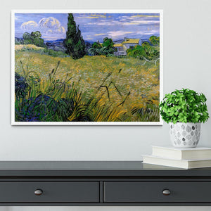 Green Wheat Field with Cypress by Van Gogh Framed Print - Canvas Art Rocks -6
