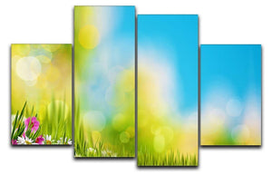 Green foliage under bright summer sun 4 Split Panel Canvas  - Canvas Art Rocks - 1