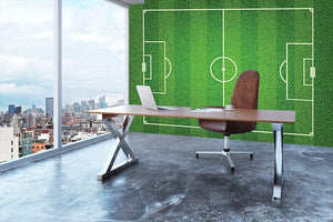 Green grass soccer field Wall Mural Wallpaper - Canvas Art Rocks - 3