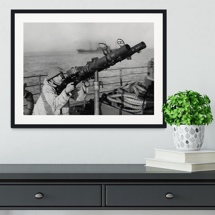 Gunner on a merchant ship Framed Print