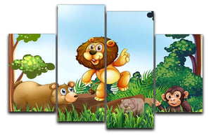 Happy animals living in the jungle 4 Split Panel Canvas  - Canvas Art Rocks - 1