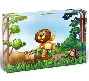 Happy animals living in the jungle Acrylic Block - Canvas Art Rocks - 1