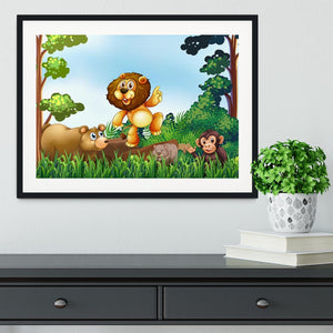 Happy animals living in the jungle Framed Print - Canvas Art Rocks - 1