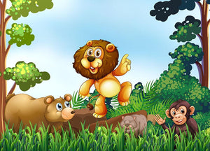 Happy animals living in the jungle Wall Mural Wallpaper - Canvas Art Rocks - 1