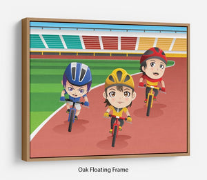 Happy kids in a bicycle race Floating Frame Canvas