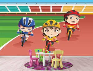 Happy kids in a bicycle race Wall Mural Wallpaper - Canvas Art Rocks - 2