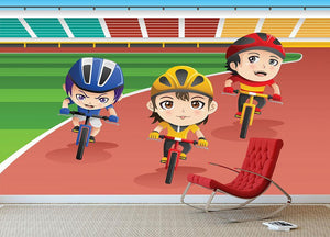 Happy kids in a bicycle race Wall Mural Wallpaper - Canvas Art Rocks - 3