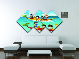 Happy kids in a boat race 4 Square Multi Panel Canvas - Canvas Art Rocks - 3