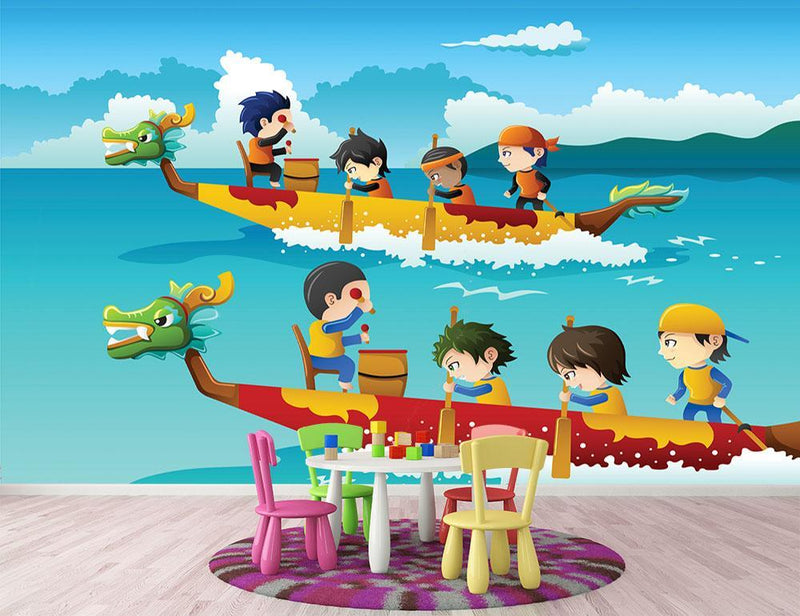 Happy kids in a boat race Wall Mural Wallpaper - Canvas Art Rocks - 1