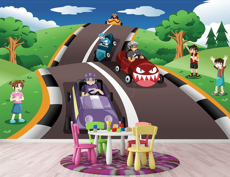 Happy kids in a box car race Wall Mural Wallpaper - Canvas Art Rocks - 1