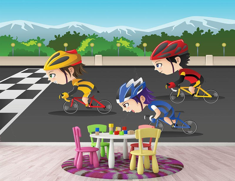 Happy kids in a race Wall Mural Wallpaper - Canvas Art Rocks - 1