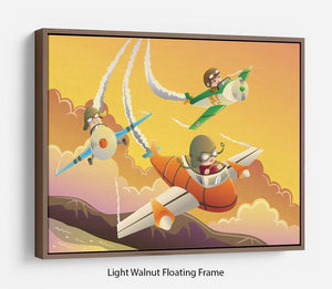 Happy kids in an airplane race Floating Frame Canvas