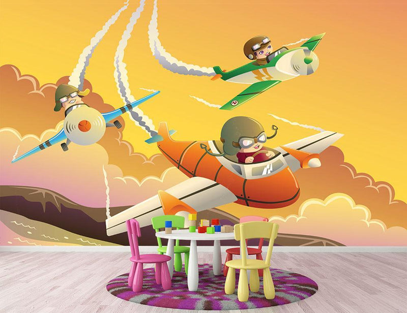 Happy kids in an airplane race Wall Mural Wallpaper - Canvas Art Rocks - 1