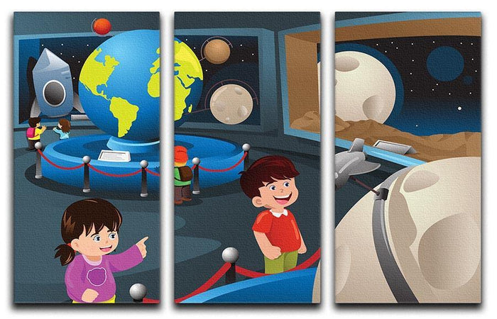 Happy kids on field trip to a planetarium 3 Split Panel Canvas Print