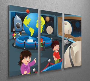 Happy kids on field trip to a planetarium 3 Split Panel Canvas Print - Canvas Art Rocks - 2