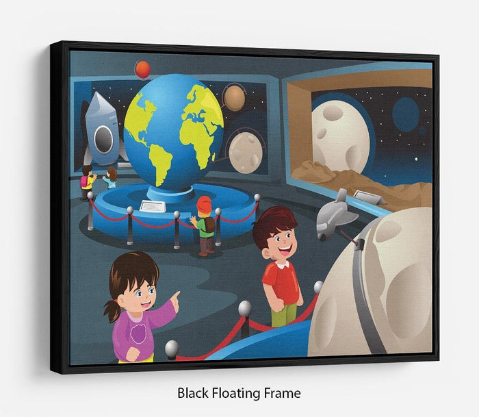 Happy kids on field trip to a planetarium Floating Frame Canvas