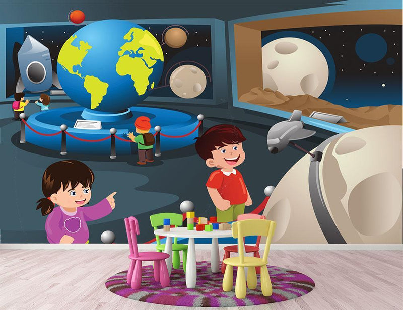 Happy kids on field trip to a planetarium Wall Mural Wallpaper - Canvas Art Rocks - 1